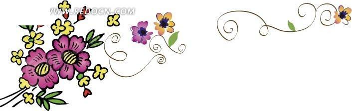 藤蔓板报花边图案花朵图片大全可爱
