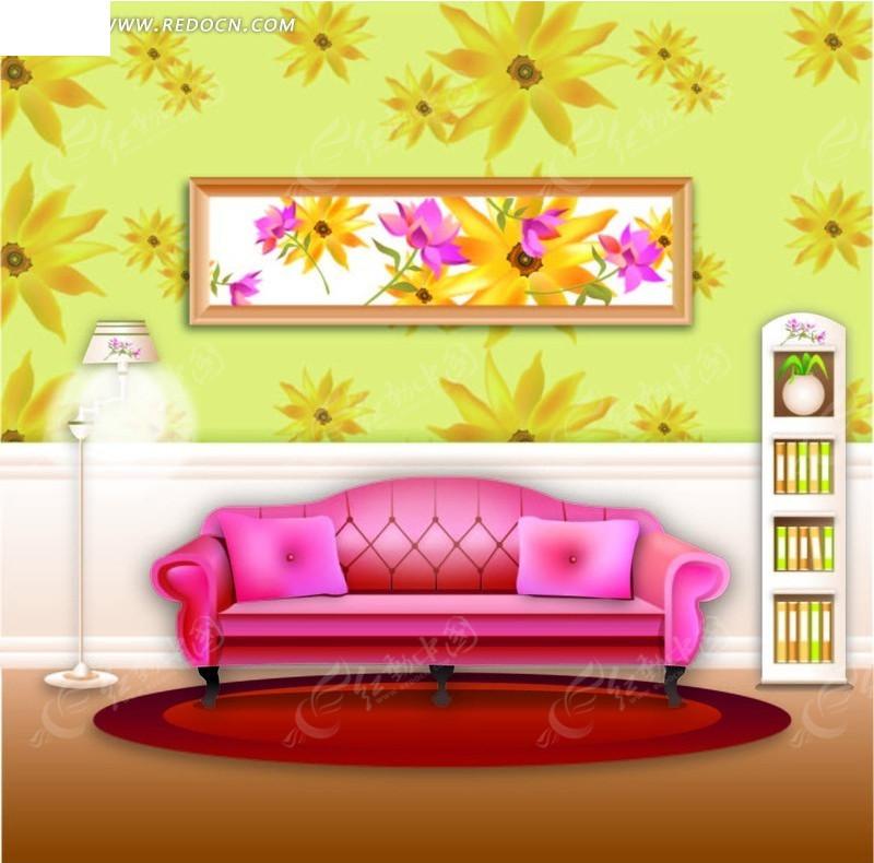 矢量家居客厅插画图片