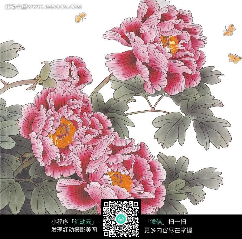 牡丹花绣花效果图图片 传统书画 吉祥图案 艺术图片下载 634777