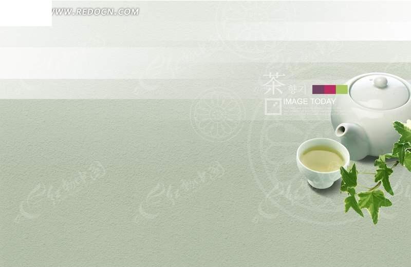 免费素材 psd素材 psd广告设计模板 海报设计 柠檬花纹上的茶具和绿叶图片