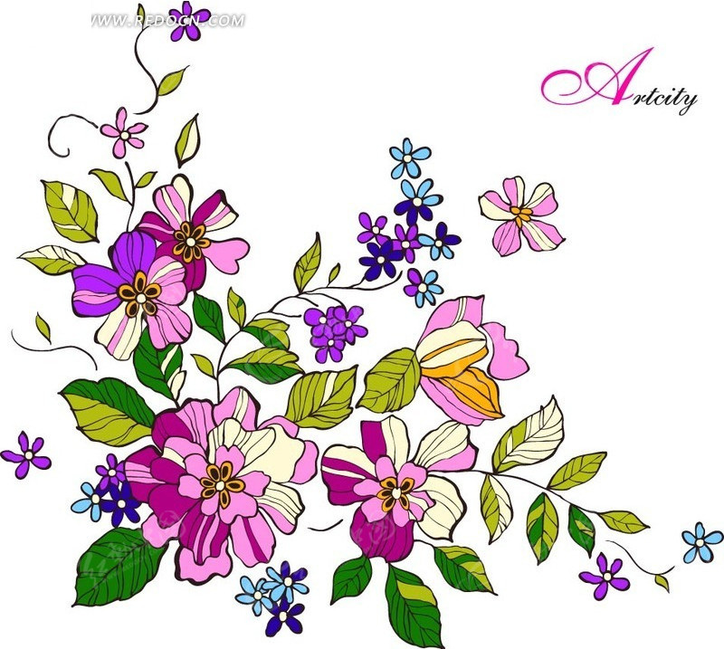 免费素材 矢量素材 花纹边框 花纹花边 一束漂亮的七彩色花朵  请您