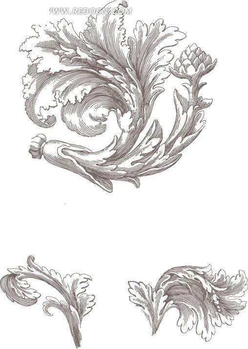 手绘 花卉素材 黑白花卉  线描 花纹 花纹素材 花边 花边素材 矢量