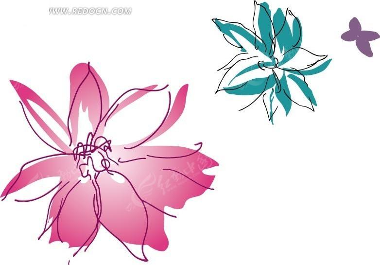 矢量手绘花朵插画素材