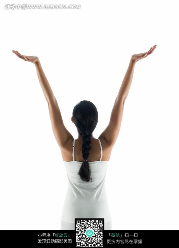 美女 背景 素材 摊开/女子 美女双手上举手掌摊开瑜伽健康运动养生时尚白色背景...