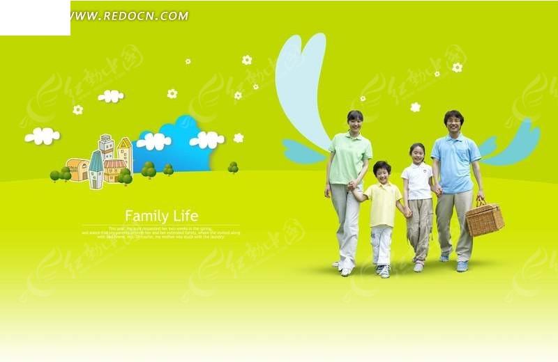 温馨家庭和卡通背景图片