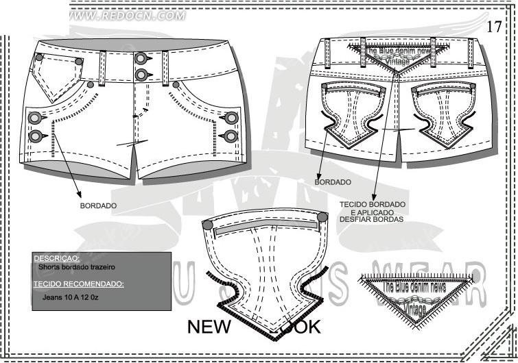 牛仔短裤设计矢量稿