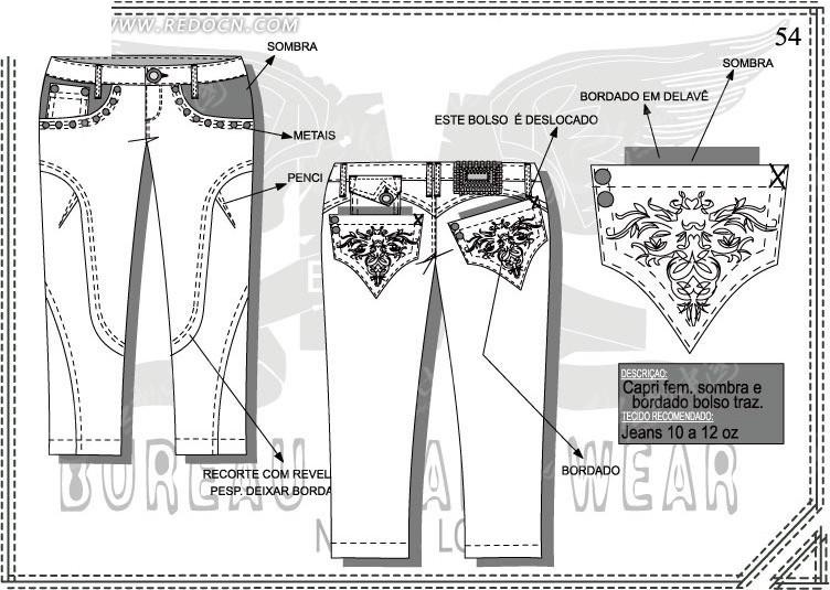 牛仔裤ai矢量图设计图稿
