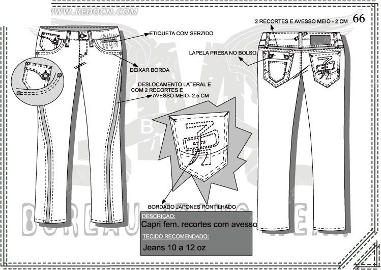 男士长裤设计图图片