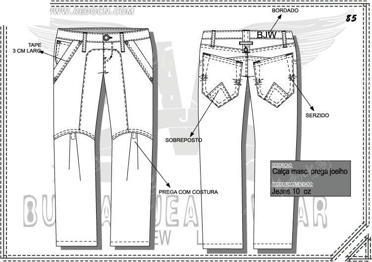 女士长裤ai设计图图片