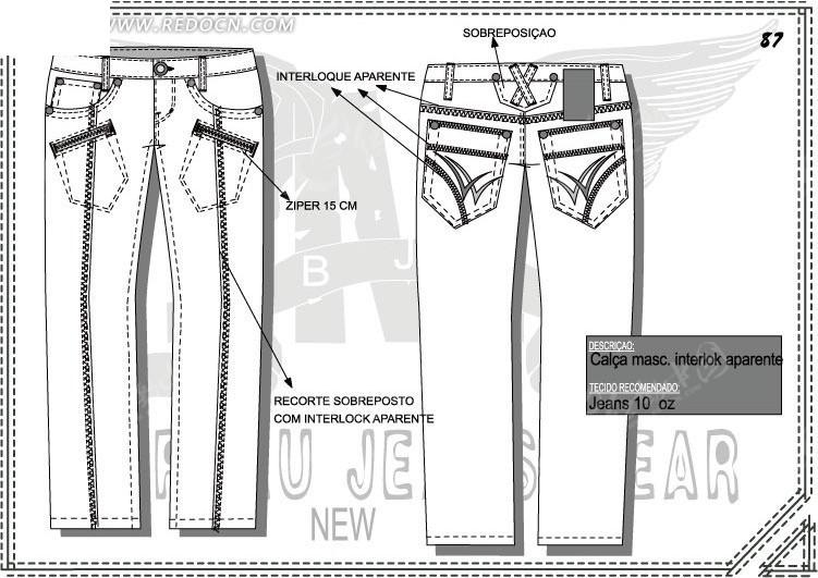 男士条状长裤设计稿图片