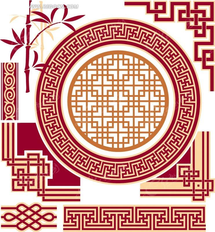 中国结竹子手绘花纹古典花纹底纹花纹花纹素材欧式高档花纹花纹韩国