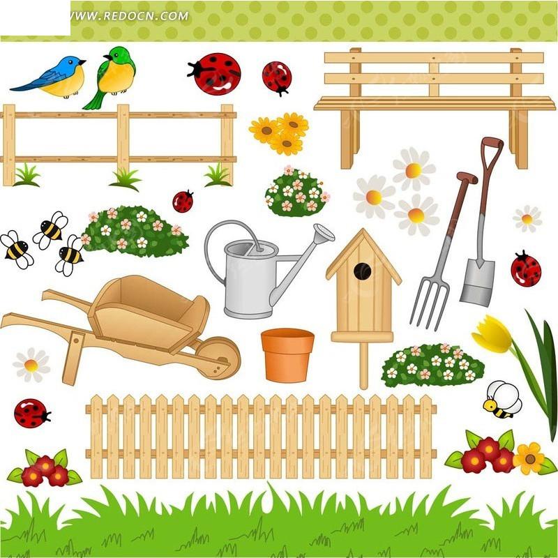 花园园丁用品元素矢量素材
