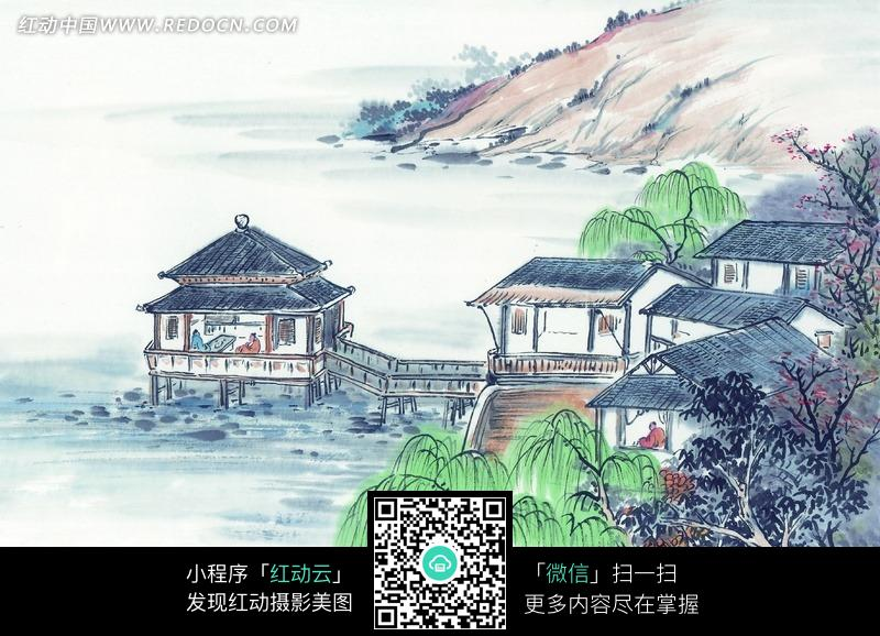 山中书院风景画