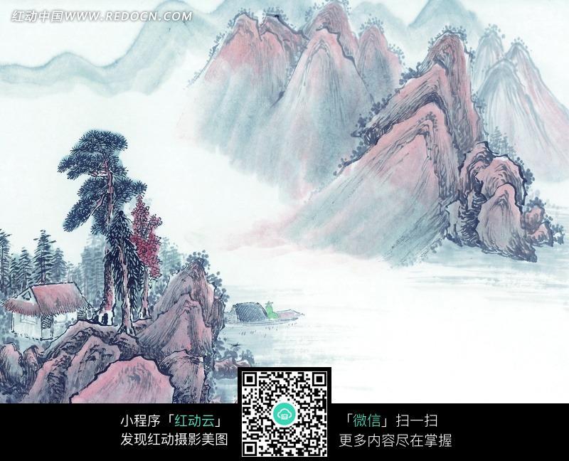 中国水墨山水画-房屋/树木/山峦