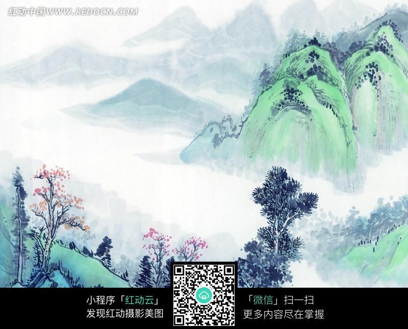 【雅枫油画】山水国画015; 中国画高山春景图jpg; 中国水墨画之山水图片