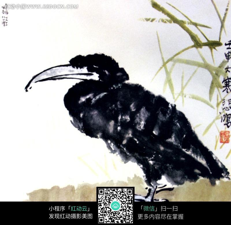 岸边鱼鹰水彩画图片