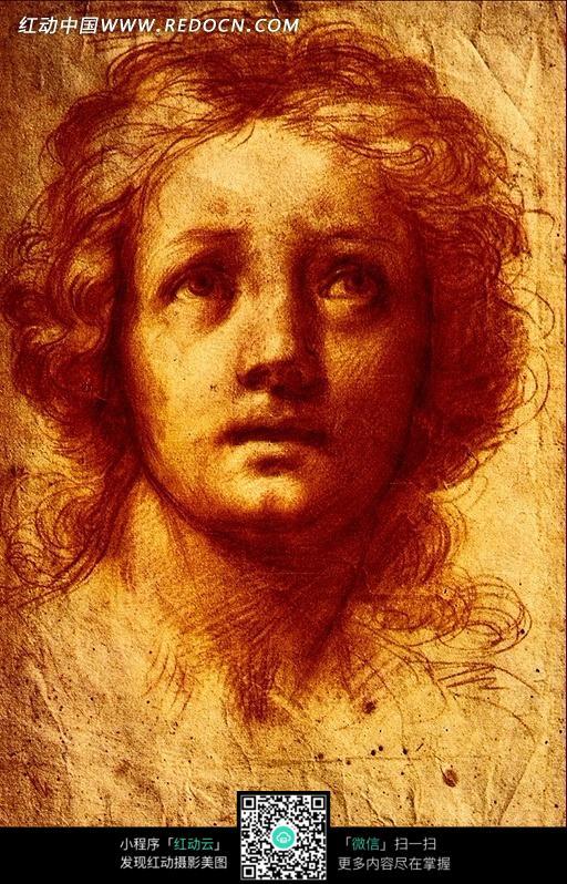 用彩铅绘画的人物头像素描