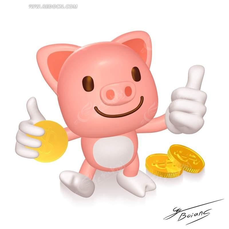 竖大拇指的卡通小猪psd素材