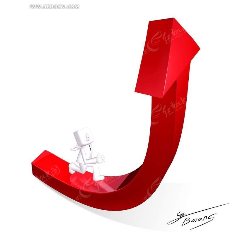 免费素材 psd素材 psd科技金融 商务金融 在红色箭头向上走的3d小人
