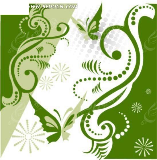 免费素材 矢量素材 花纹边框 流行元素 抽象蝴蝶与藤蔓绿色矢量纹理