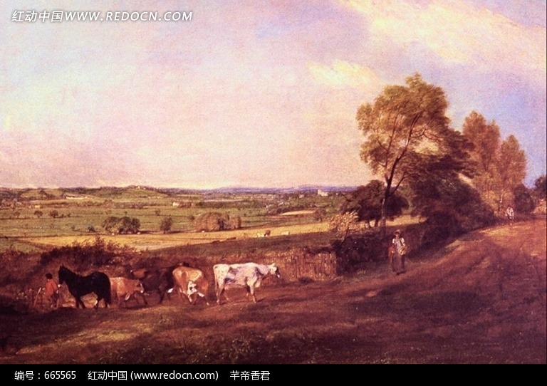 西洋油画 秋天的原野图片