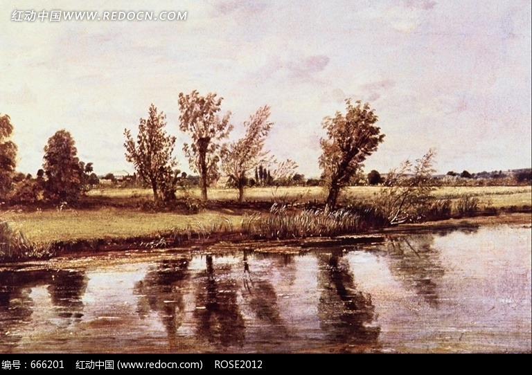 西洋油画 湖畔的草木