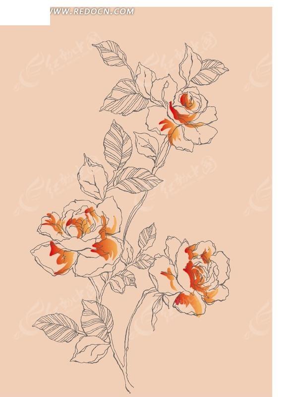 粉色背景 植物素材 矢量插画 花朵 叶子纹理 手绘 底纹 背景素材 矢量