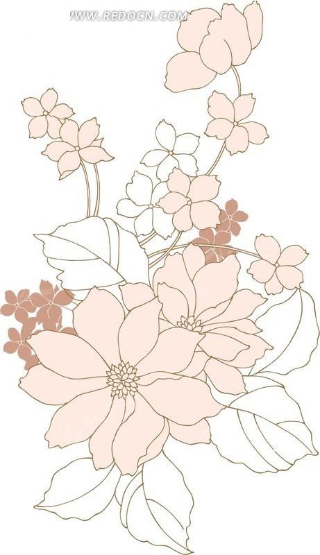 粉色系清新风格花朵图案矢量素材矢量图