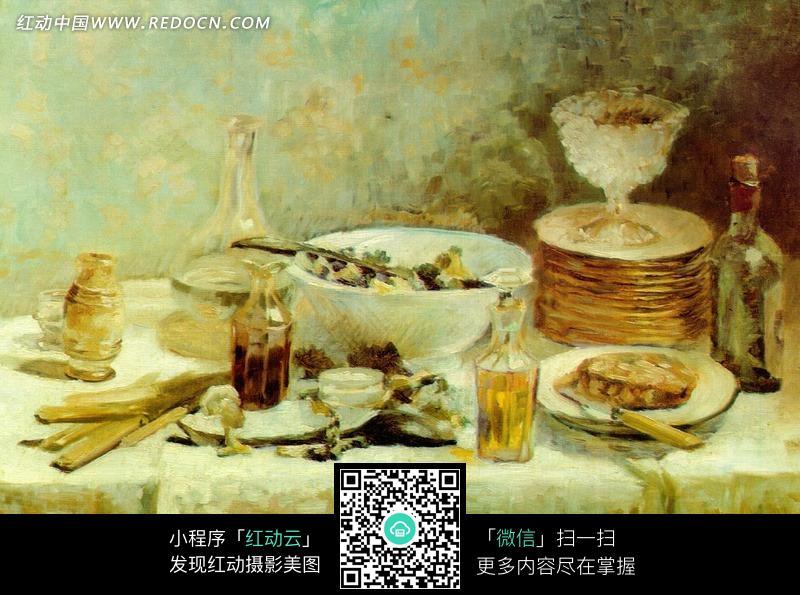 西方绘画作品-桌子上的食物和餐具