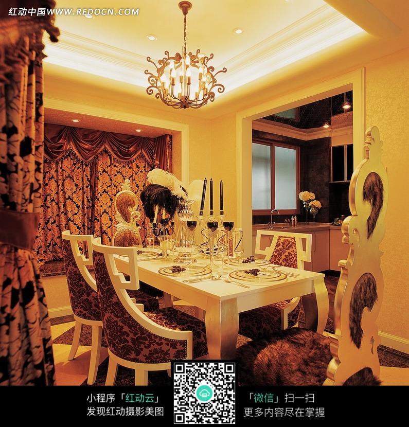 大气奢华的欧式餐厅效果图图片