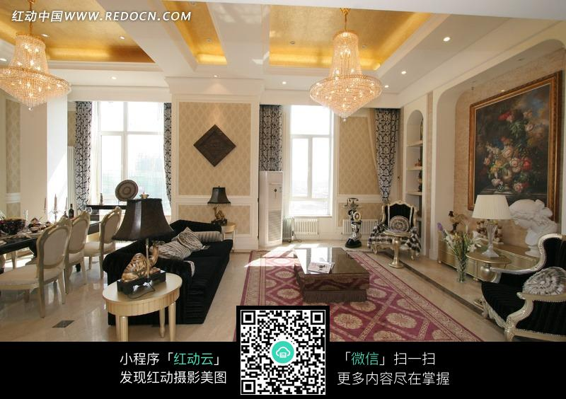 欧式富丽奢华的客厅效果图图片_室内设计图片