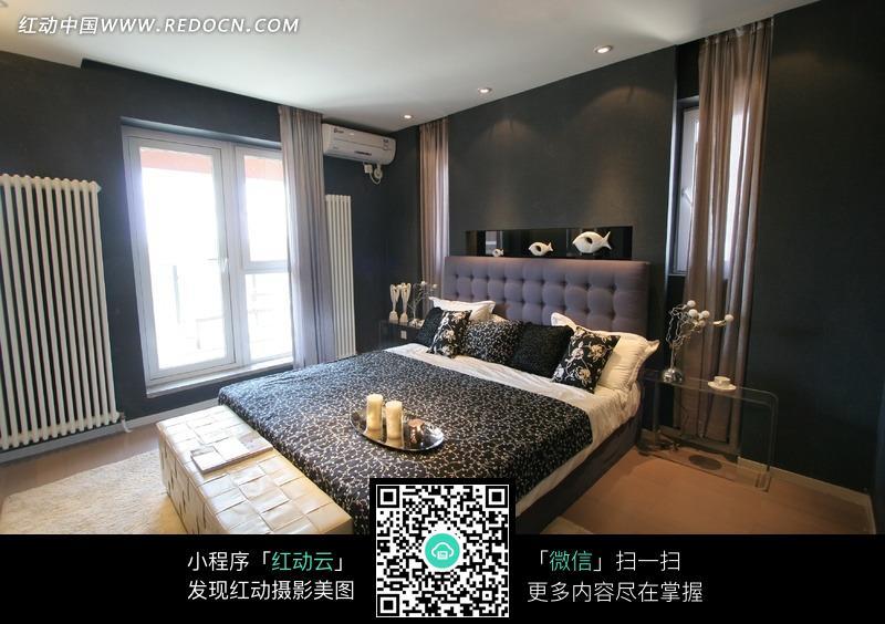 免费素材 图片素材 环境居住 室内设计 简约时尚的深色系卧室效果图