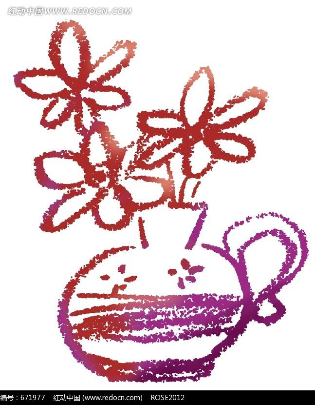 时尚简约的卡通彩绘瓶花图片免费下载 红动网