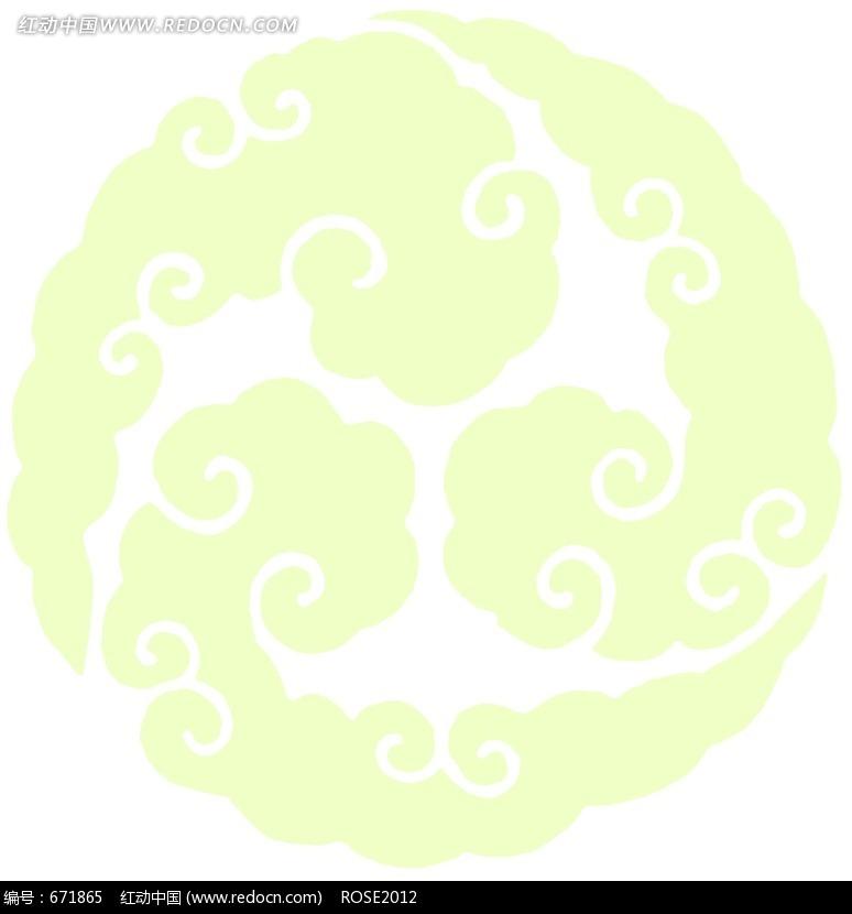 黄绿色调祥云彩绘图案