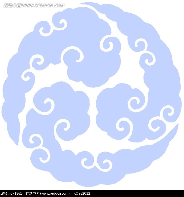 蓝色调祥云彩绘图案图片