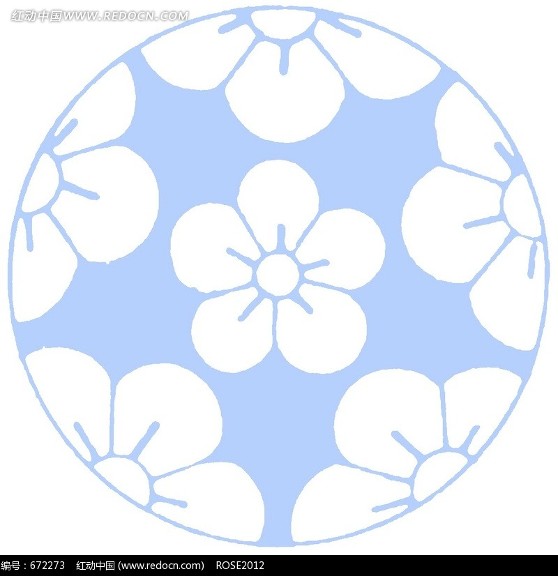 蓝色圆形里的五瓣花朵图片免费下载 编号672273 红动网