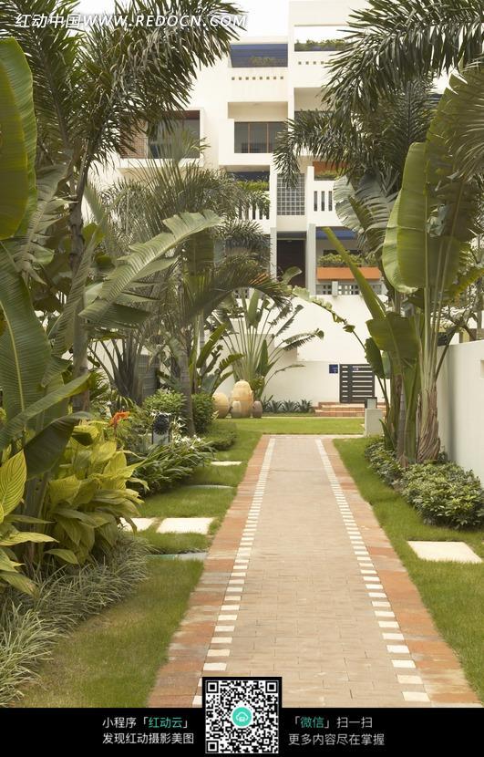 免费素材 图片素材 环境居住 建筑设计 西班牙风格别墅庭院走道  请您