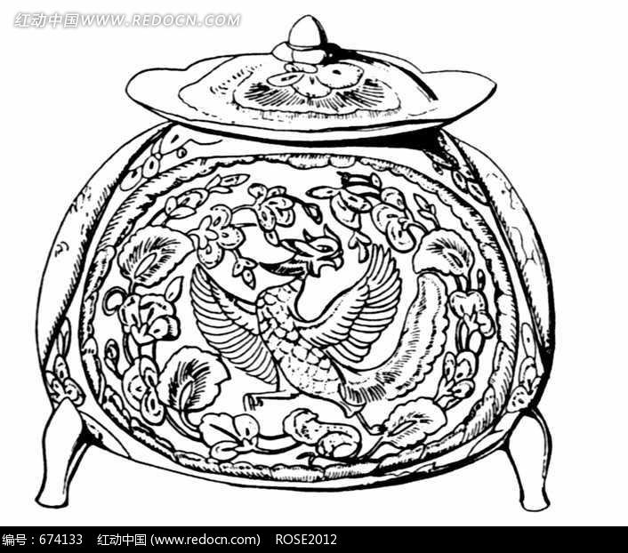 圆形罐子上的凤凰装饰花纹图片