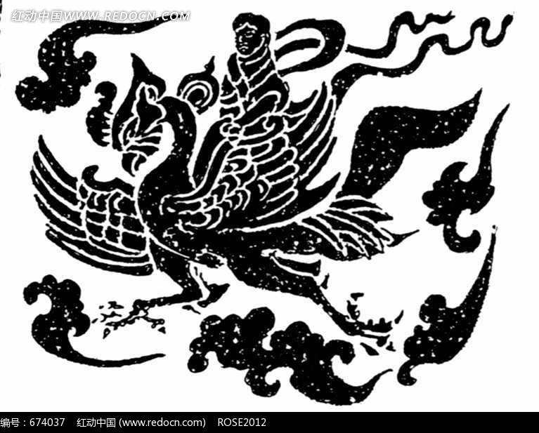 祥云麋鹿手绘框画