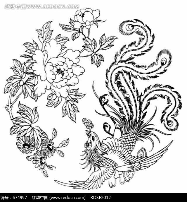 中国古典图案-一只展翅的凤凰和牡丹构成的圆形图案