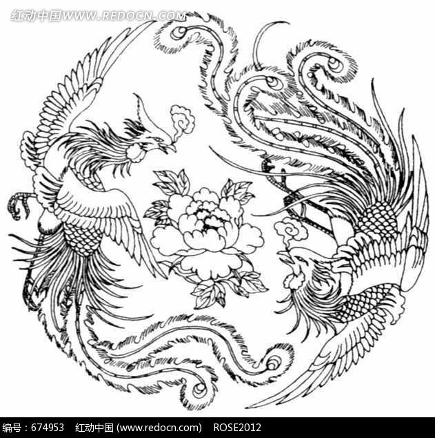 中国古典图案-两只精美凤凰和牡丹构成的圆形图案