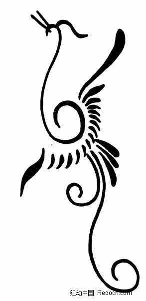 凤凰图片简笔画-中国古典图案 一只线条简洁的凤凰图片免费下载 编号