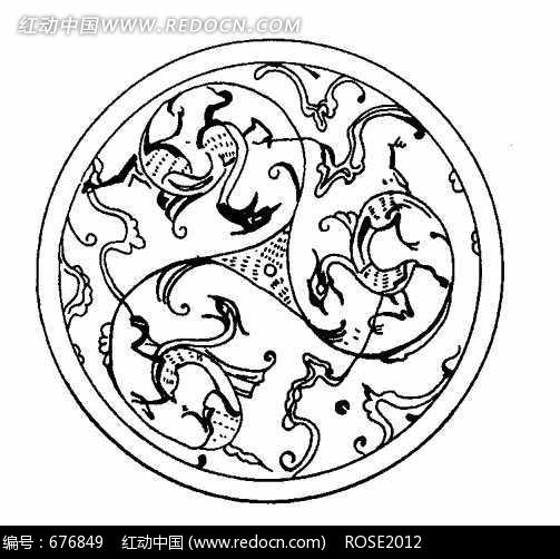 中国古典图案-三只极简风格凤凰构成的圆形