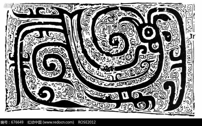 下载《中国古典图案-极简抽象风格的凤凰》[免费图片]; 几何线条图案