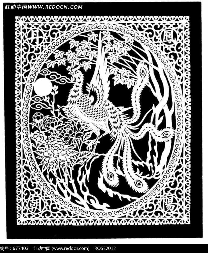 中国古典图案-精美凤凰构成的方形图案图片
