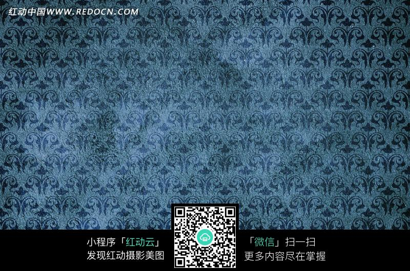 蓝色方格欧式布纹