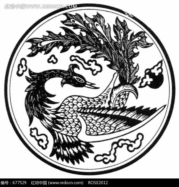 中国古典图案-孔雀尾羽的凤凰构成的圆形图案