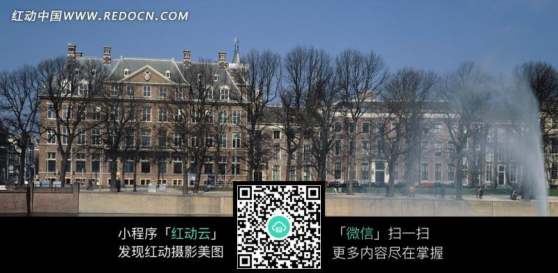 欧洲古建筑墙面手绘图_活动场景图片_红动手机版
