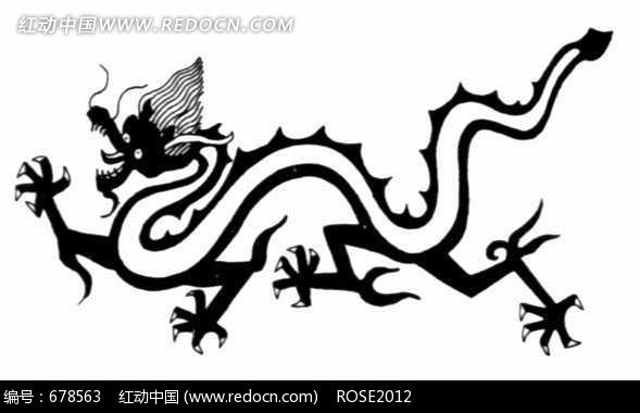 中国古典图案-简洁线条构成的龙纹