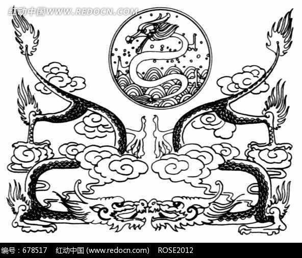 中国古典图案-两条龙和云纹图片图片